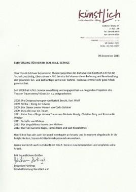 Empfehlungsschreiben | H.N.E.-Service